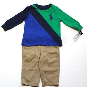 Ralph Lauren Baby Boy pant and shirt set Size 9 M